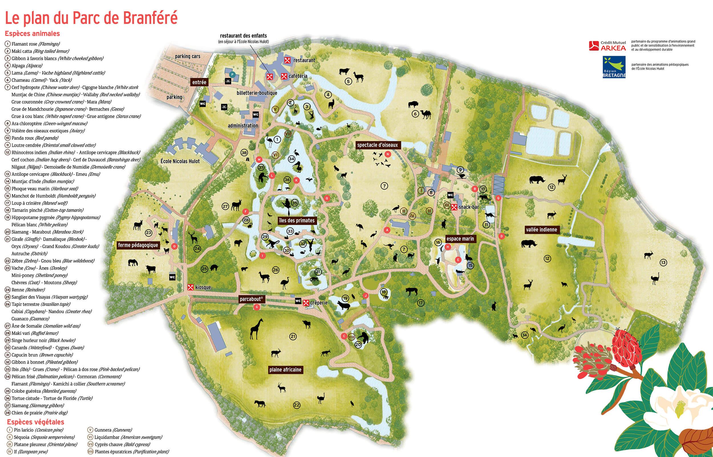 plan légende parc de branféré